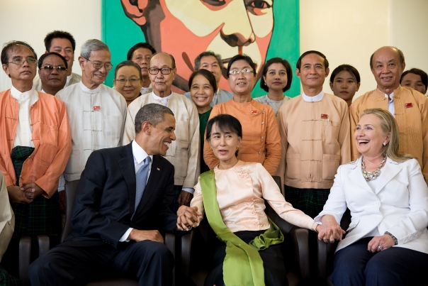 President Obama With Aung San Suu Kyi and Sec. Clinton