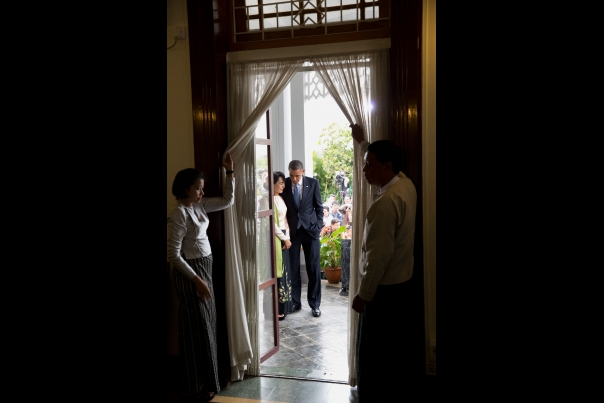 President Obama Walks With Aung San Suu Kyi