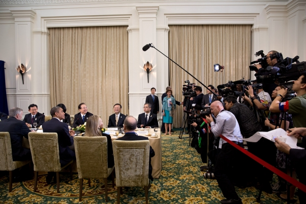 President Obama And Premier Wen Jiabao Are Photographed