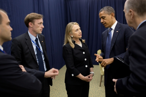 President  Obama Talks With Secretary Clinton At The U.S.-ASEAN Summit