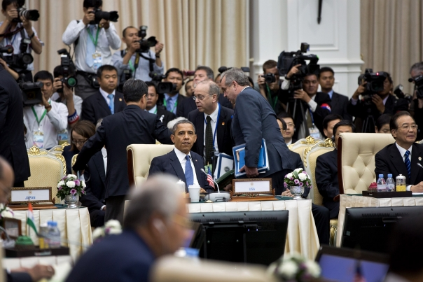 President Obama Waits For The Start Of The Plenary Session
