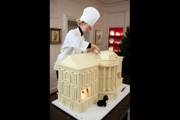Assistant Pastry Chef Builds Gingerbread House