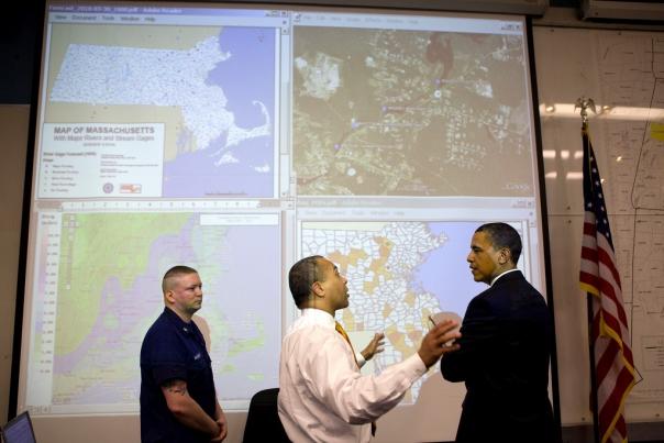 President Barack Obama talks with Massachusetts Gov. Deval Patrick
