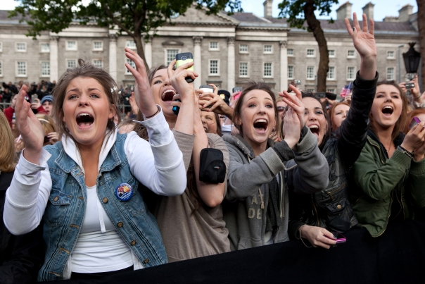 People Cheer at the Irish celebration at College Green in Dublin