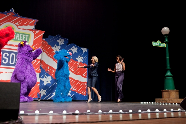 First Lady Michelle Obama and Dr. Jill Biden Greet Sesame Street Characters