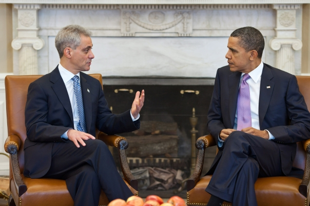 President Barack Obama meets with Chicago Mayor-elect Rahm Emanuel