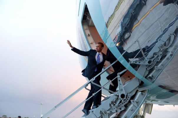 President Obama Waves as he Boards Air Force One in Dublin