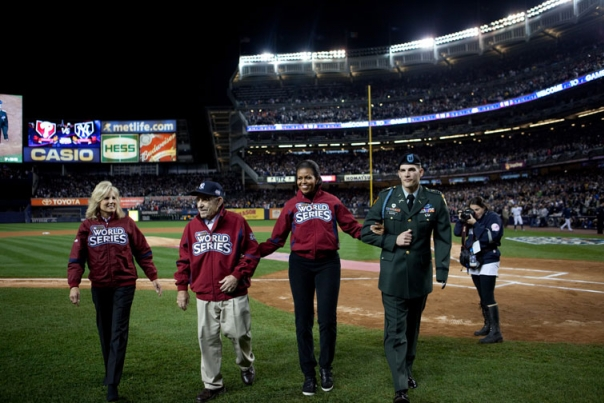 First Lady Michelle Obama, Dr. Jill Biden, Yogi Berra and Retired Army Capt. Tony Odierno Take to the Field at Yankee Stadium