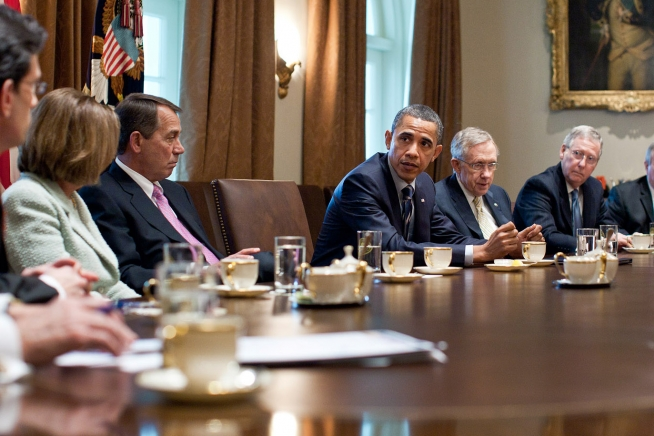 Image result for PHOTOS OF OBAMA MEETING WITH HOUSE SENATE LEADERS