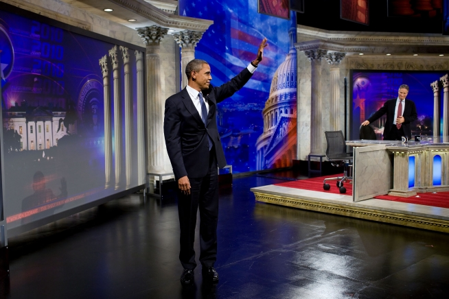President Barack Obama waves to the audience after taping an interview for the Daily Show with Jon Stewart at the Harman Center for the Arts in Washington, D.C., Oct. 27. 2010.
