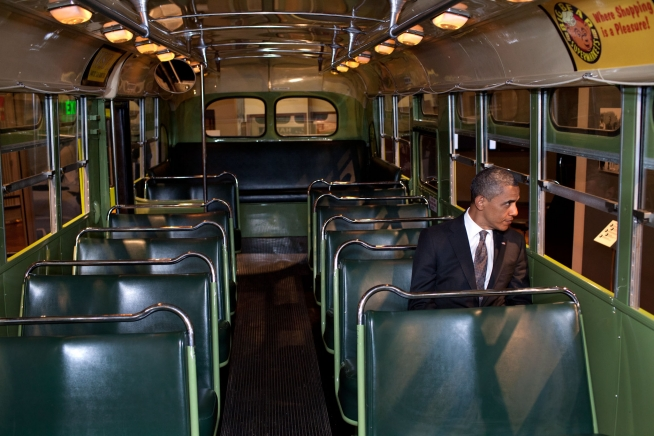 President Barack Obama Sits On The Famed Rosa Parks Bus   The White