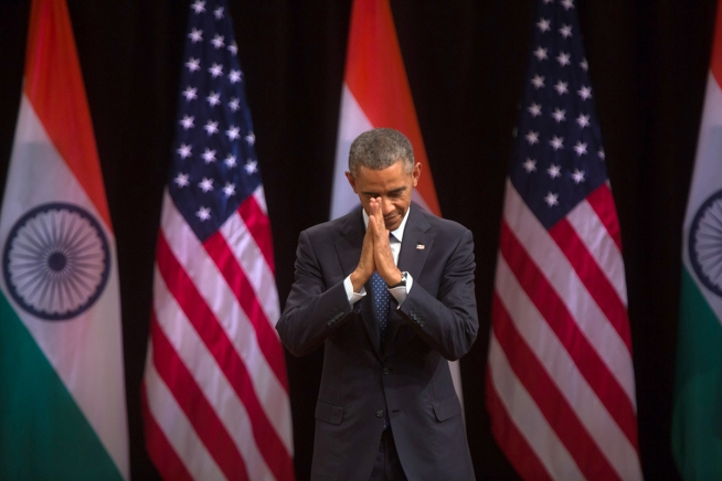 President obama offers namaste greeting in india the white house president barack obama clasped his hands in the traditional namaste greeting after delivering remarks on india and america relations at the siri fort m4hsunfo