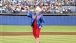 Barbara Bush throws the ceremonial first pitch of a Texas Rangers baseball game in Dallas