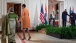 First Lady Michelle Obama and Mrs. Gursharan Kaur of India depart the East Room