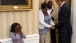 Eight-year old Make-A-Wish child Janiya Penny reacts after meeting President Obama