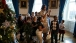 First Lady Michelle Obama walks with children of military families in the Blue Room