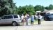 People Gather Along President Obama's Motorcade Route
