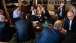 President Barack Obama talks with G8 leaders before a working dinner during the G8 Summit