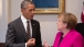 President Obama and Chancellor Merkel Talk in the Roosevelt Room