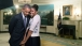 First Lady Michelle Obama snuggles against President Barack Obama