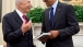 President Obama Talks with President Peres of Israel