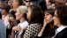 Mourners Watch The Commemoration Ceremony At The National September 11 Memorial