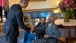 President Barack Obama greets Richard Overton