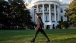 The President Walks the South Lawn