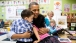 President Barack Obama hugs students in Decatur