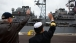 Vice President Joe Biden Waves to Sailors Aboard the USS Gettysburg