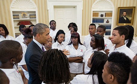 President Barack Obama talks with students from William R. Harper High School in Chicago, Ill., in the Oval Office, June 5, 2013. (Official White House Photo by Pete Souza)