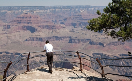 President Barack Obama looks at the Grand Canyon in Arizona on Aug. 16, 2009. (Official White House Photo by Pete Souza)