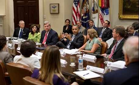 President Barack Obama meets with the White House Rural Council to discuss ongoing efforts in response to the drought, in the Roosevelt Room of the White House, Aug. 7, 2012. (Official White House Photo by Pete Souza)