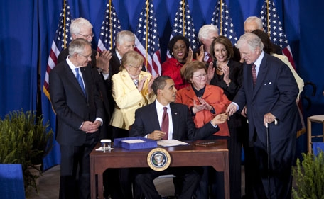 President Obama at SEED School Kennedy Service Act signing.