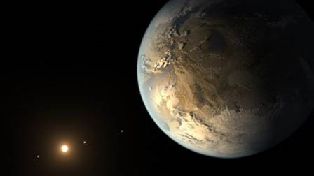 The artist's concept depicts Kepler-186f , the first validated Earth-size planet to orbit a distant star in the habitable zone