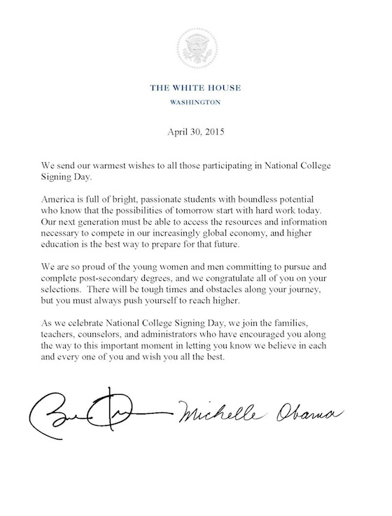 On College Signing Day First Lady Michelle Obama Asks Students To