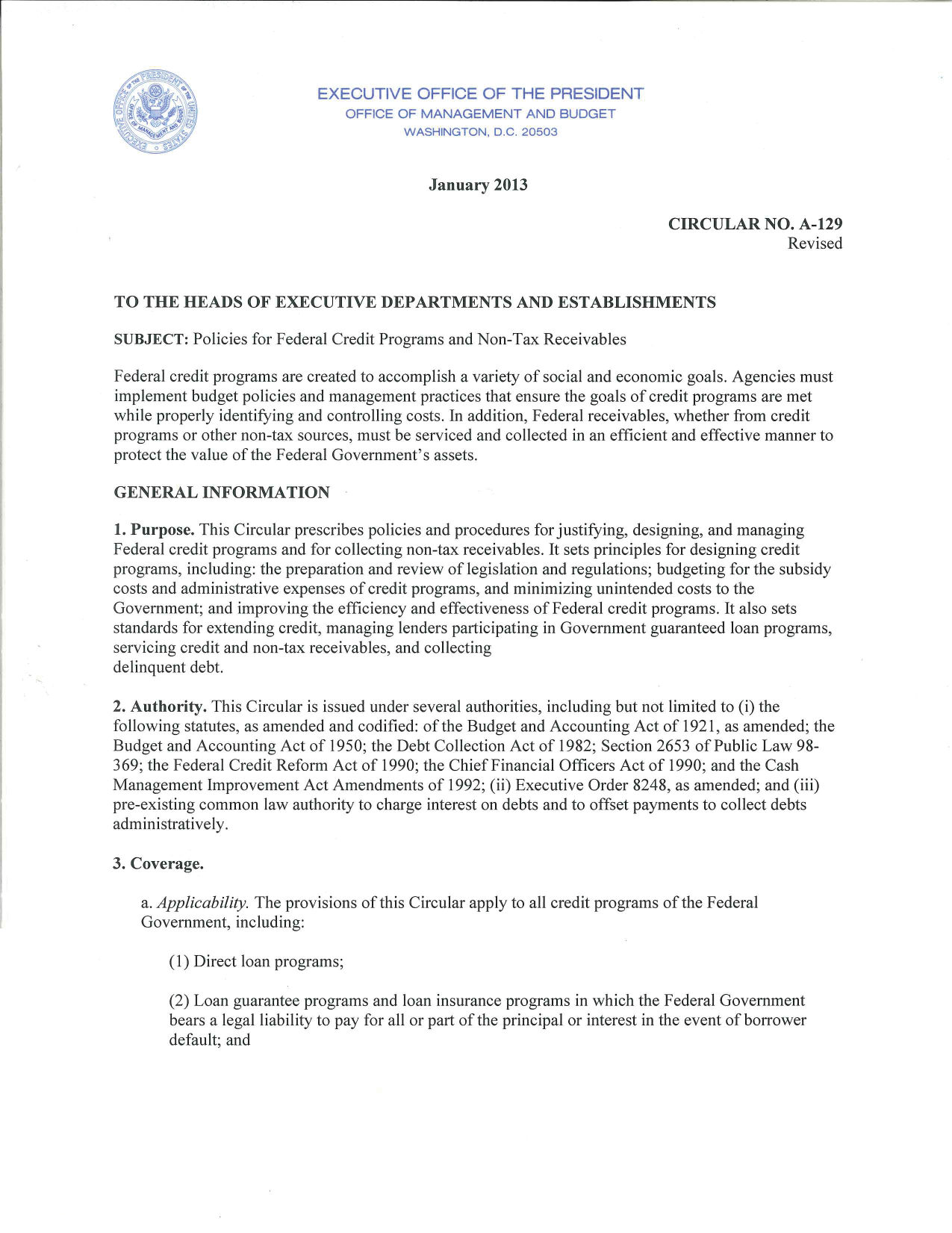 Circular A 129 Transmittal Letter | The White House