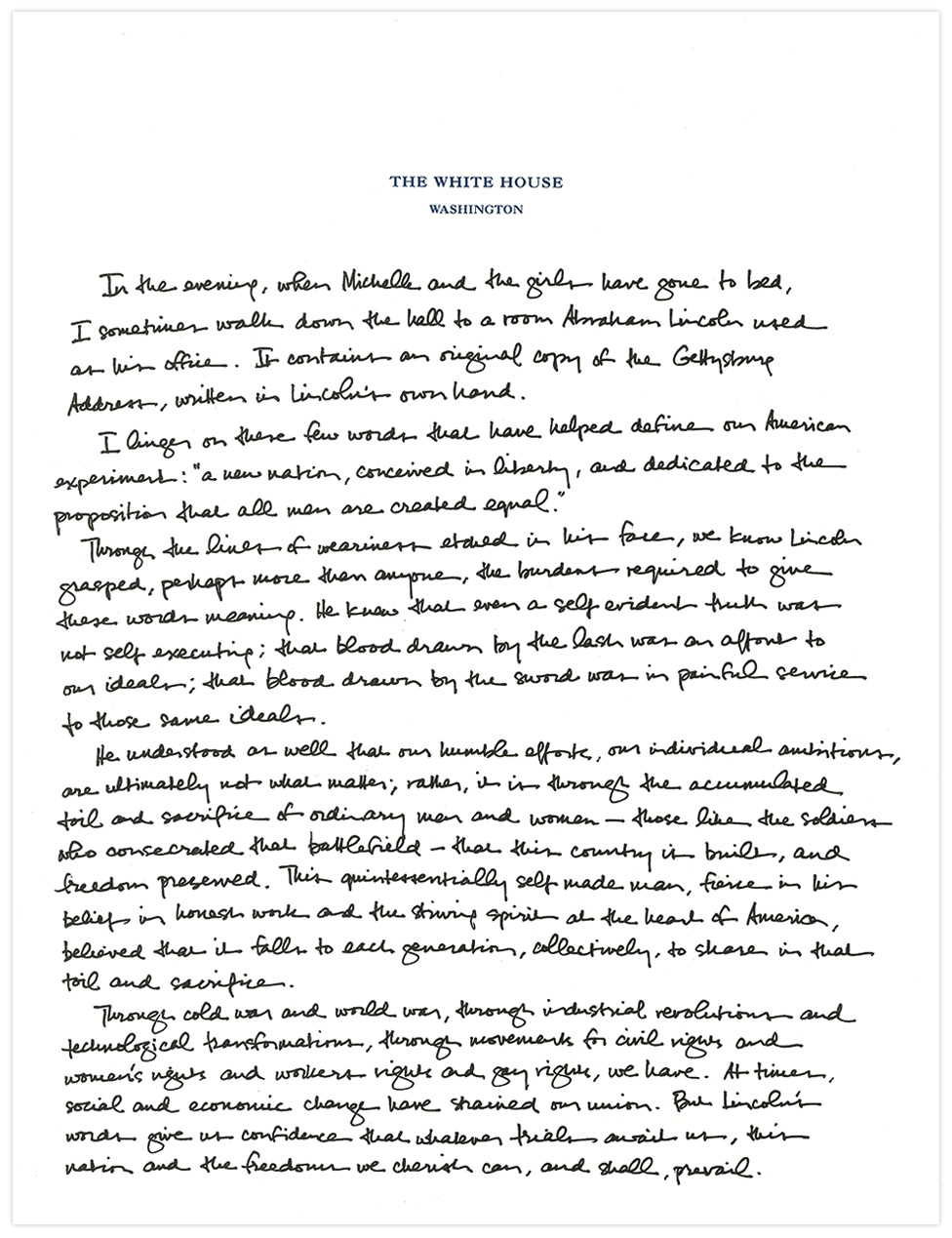 president obama u0026 39 s handwritten tribute to the gettysburg
