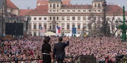 President Obama addresses a crowd in Prague