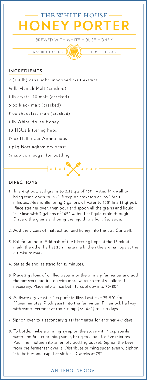 Ale To The Chief White House Beer Recipe Whitehouse Gov