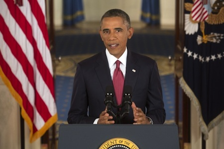 President Barack Obama delivers an address to the nation on the U.S. Counterterrorism strategy to combat ISIL