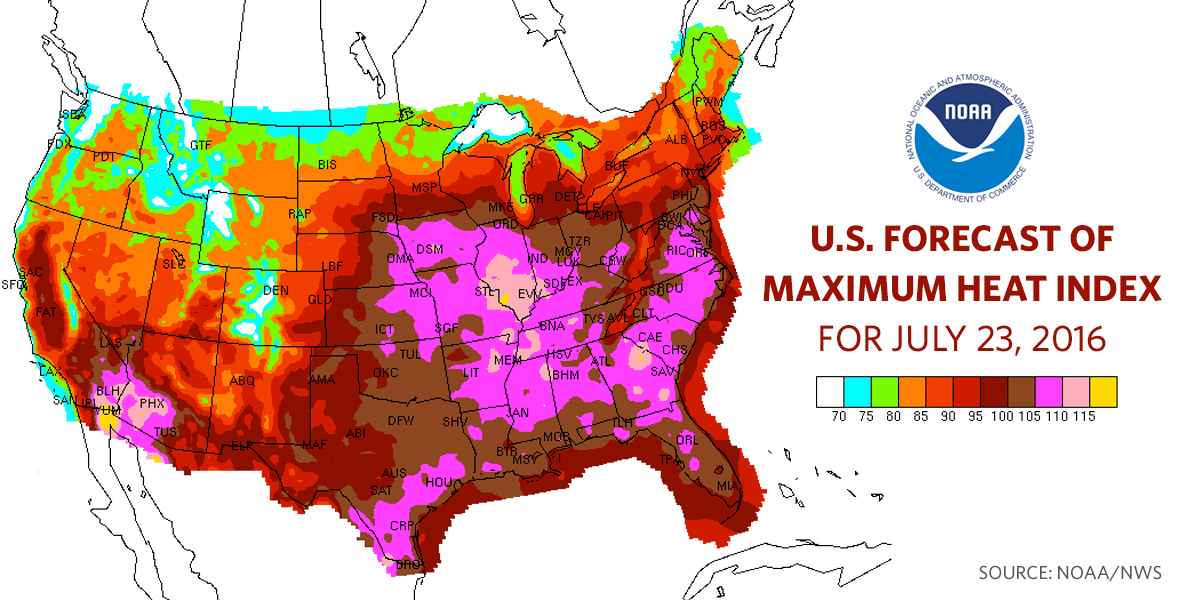 Preparing Our Nation For Extreme Heat Whitehousegov - Us heat map