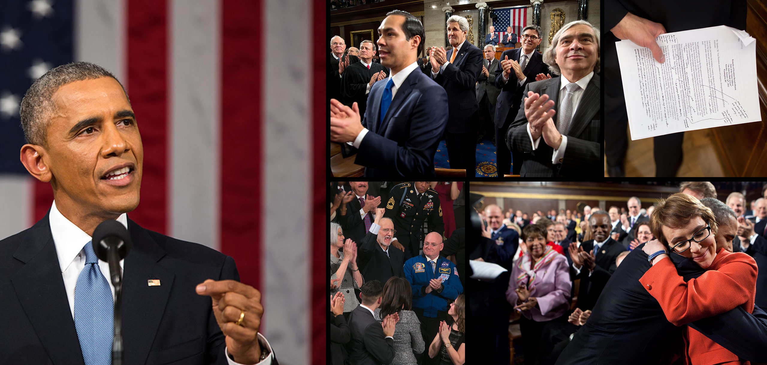 Collage of photos from previous State of the Union Addresses.