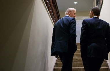 Vice President Biden and President Obama walk up steps in the West Wing together
