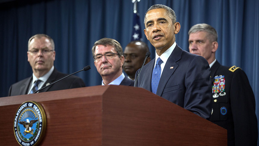 President Barack Obama delivers a statement and answers a few questions from the press following his meeting with Defense Department and military leadership regarding the campaign against ISIL, at the Pentagon, Arlington, Va., July 6, 2015. July 6, 2015. (Official White House Photo by Lawrence Jackson)