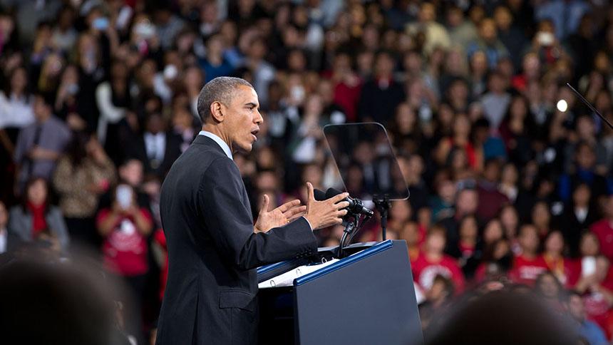 El Presidente destaca su plan de inmigración para mantener a las familias juntas, en un evento en Del Sol High School, Las Vegas, Nevada