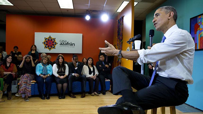 El Presidente participa en un foro sobre inmigración en el centro comunitario, Casa Azafrán en Nashville, Tennessee