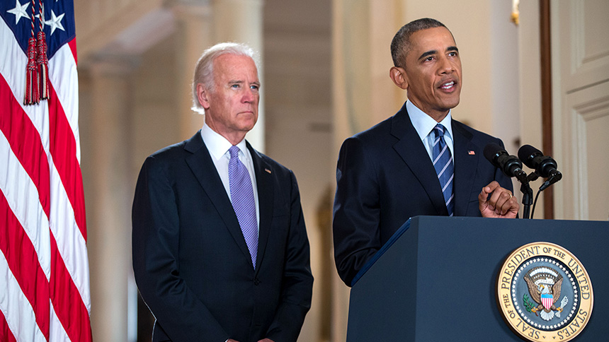 President Obama, with Vice President Biden, speaks about the Iran Deal.