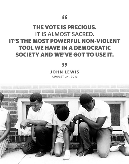Quote: The vote is precious. It is almost sacred. It's the most powerful non-violent tool we have in a democratic society and we've got to use it. Byline: John Lewis August 24, 2014