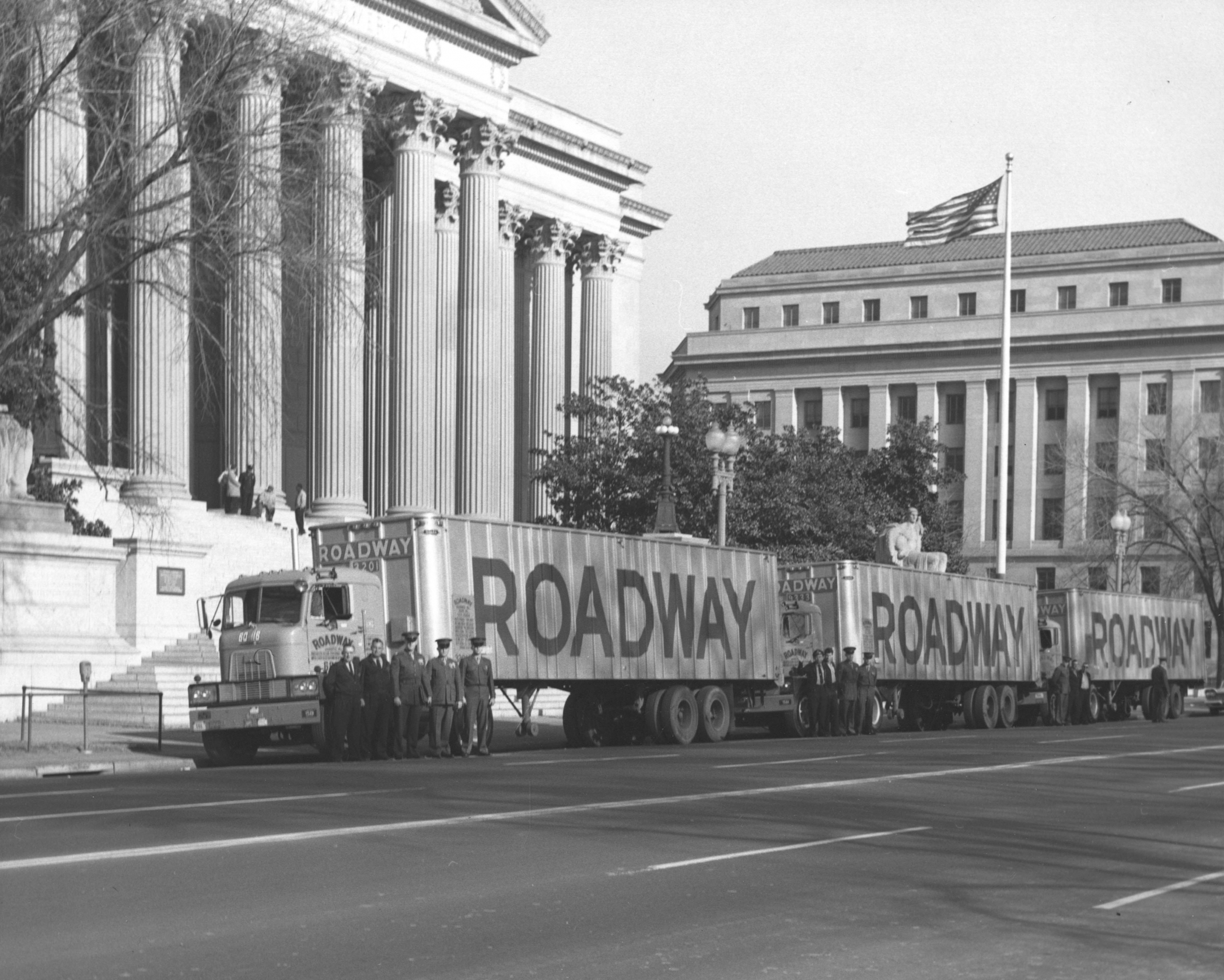 Three forty-foot trailer trucks carrying President Dwight D. Eisenhower personal files and records